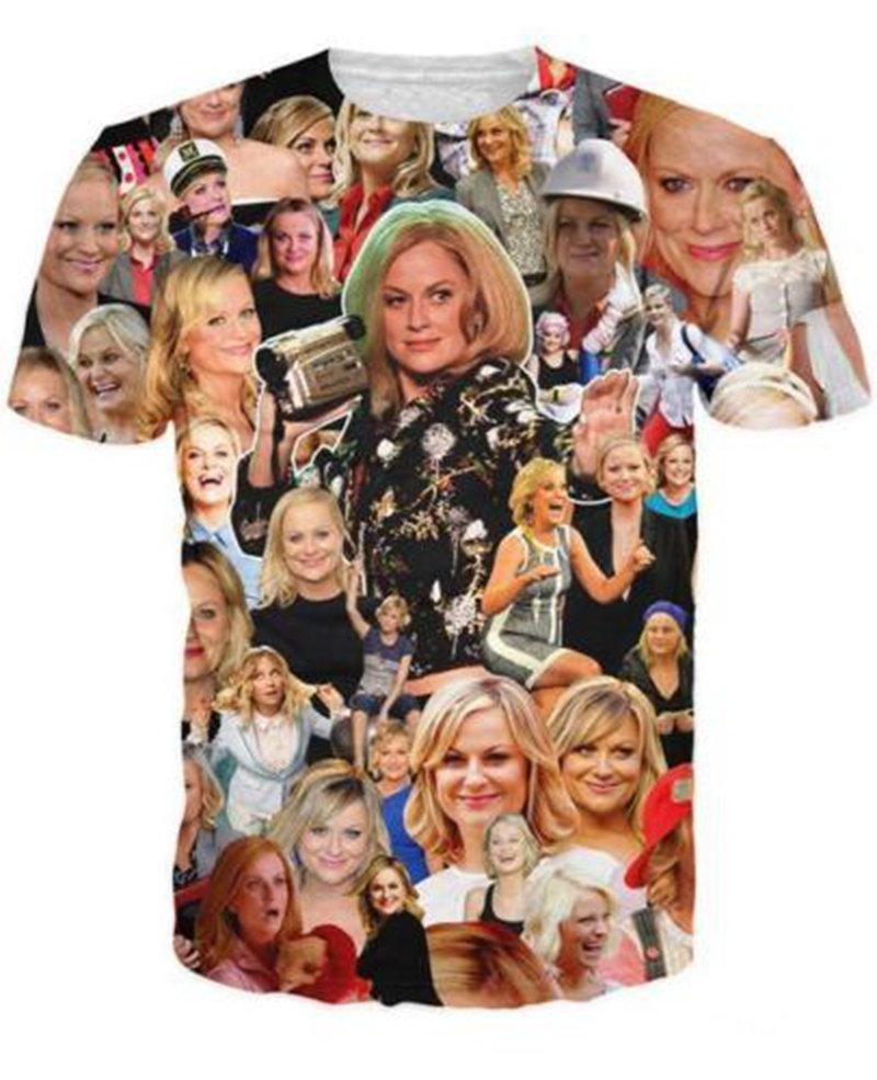Funny Hip Hop Women/Mens t shirt Amy Poehler Paparazzi Short Sleeves 3D Print T-Shirt Su ...