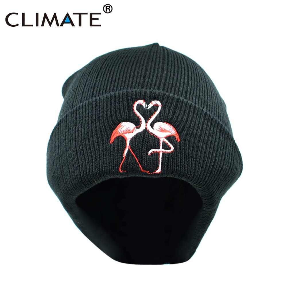 9346b7cc3 CLIMATE Women Winter Warm Beanies Hat Nice Flamingo HipHop Winter Warm  Knitted Hat For Girls Women Winter Knitted Hat Flamingo