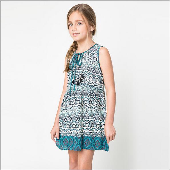 2016 Nation Style Big Kids Girls Print Vintage Floral Dresses Teenager Fashion Dress Junior Bohemian Chistmas Clothing