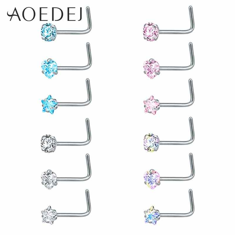 AOEDEJ 3 Pieces 1 Lot 20G Nostril Piercings CZ Crystal Piercing Nose Stud  Stainless Steel Star Nose Rings Nariz Piercing Jewelry