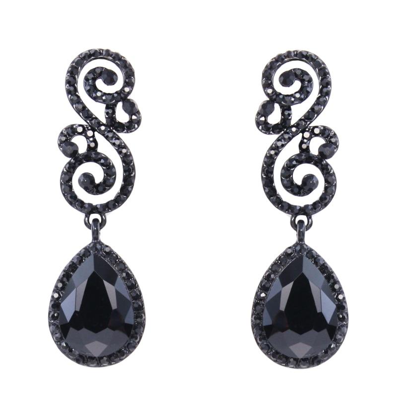 New Water Drop Black Crystal Earrings Music Note Black ...