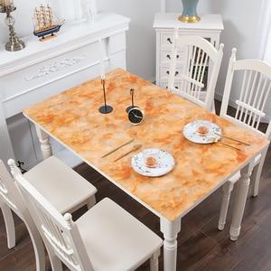 Image 3 - Mantel de mármol de imitación nórdico de vidrio suave PVC impermeable a prueba de aceite para mesa de fiesta de boda almohadilla de Decoración de mesa hecha a medida