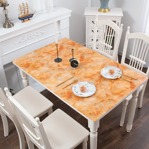 Image 3 - Nordic imitation marble tablecloth soft glass PVC waterproof oilproof table mat party wedding table decoration pad custom made