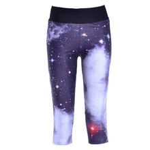 New 1064 Sexy Girl Women Star skye Galaxy Black 3D Prints Workout Fitness Stretchy Cropped Trousers Leggings Pocket Pants