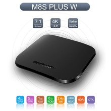 M8S PLUS W TV Box Android 7.1 Amlogic Quad Core 1GB+8GB Ultra Thin Smart Media Player With 2.4G WiFi 4K USB 2.0 Set Top Box