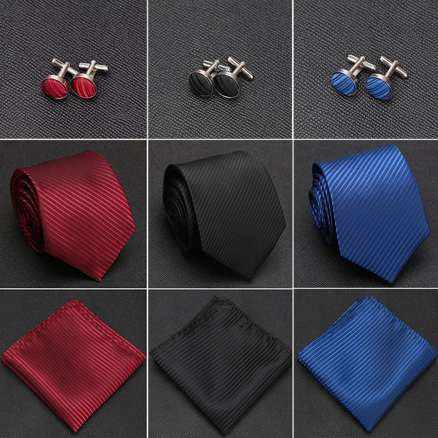 Mens Tie Solid Handkerchief Necktie Cufflinks Set Fashion Stripe Ties For Men Cravat Party Man Gift Wedding Dress Accessories