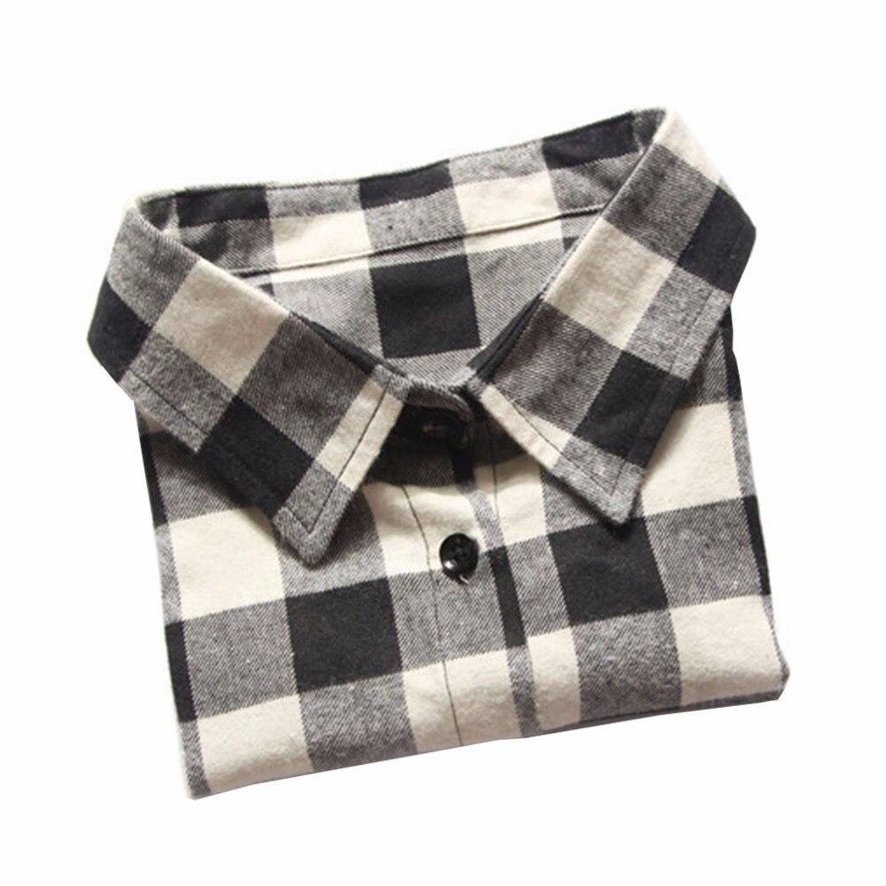 Chemise à carreaux pour femmes   Faux col détachable, faux collier à revers, accessoires de chemise, nouveau 2018