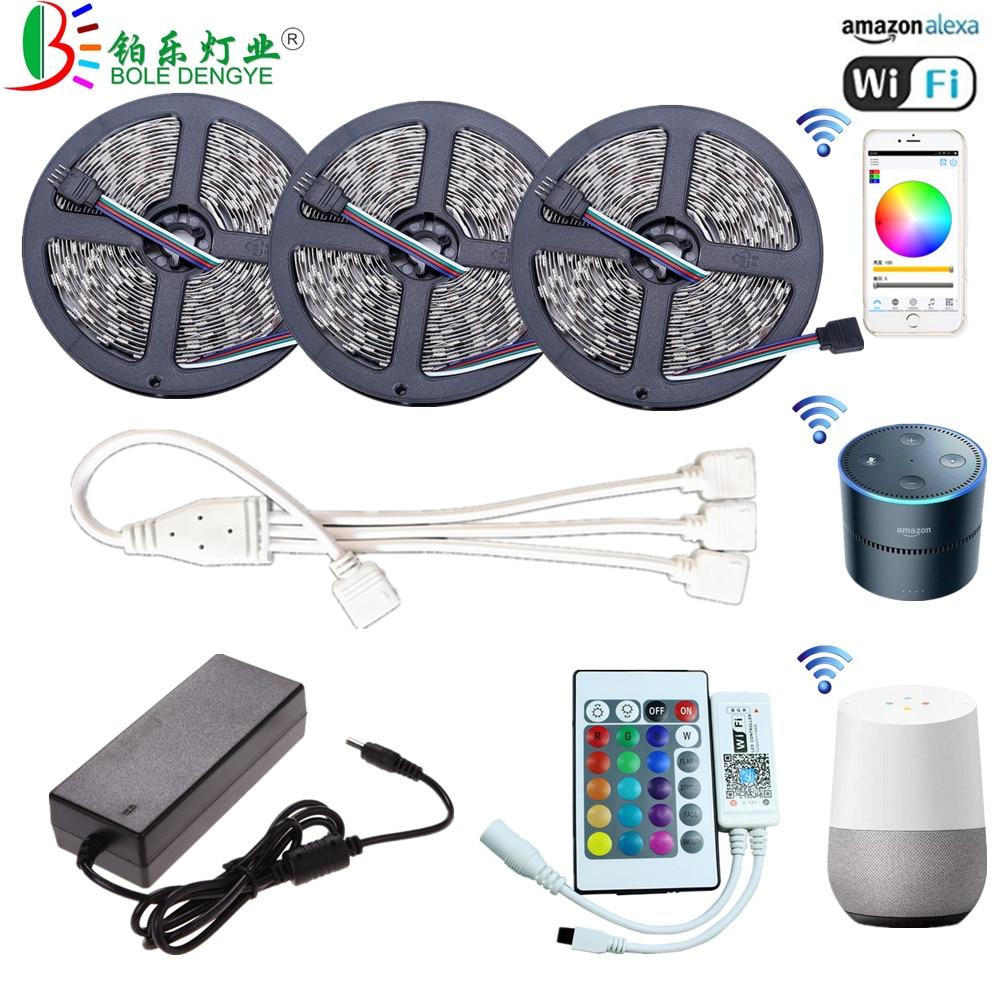 5M WiFi Bluetooth LED Strip DC 12V SMD 5050 Non waterproof Flexible RGB Tape Ribbon Light Works With Amazon Alexa Google Assist