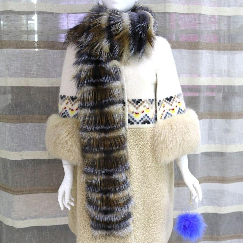 Winter For Women Scarf Real Silver Fox Fur Poncho Fashion Elegant Female Genuine Natural Silver Fox Fur Scarf Warm Fur Pashmina