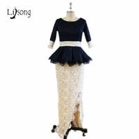 Fashion African Lace Evening Dress Real Photo High Side Split Long Peplum Abendkleider Elegant New Arrival Evening Formal Gowns