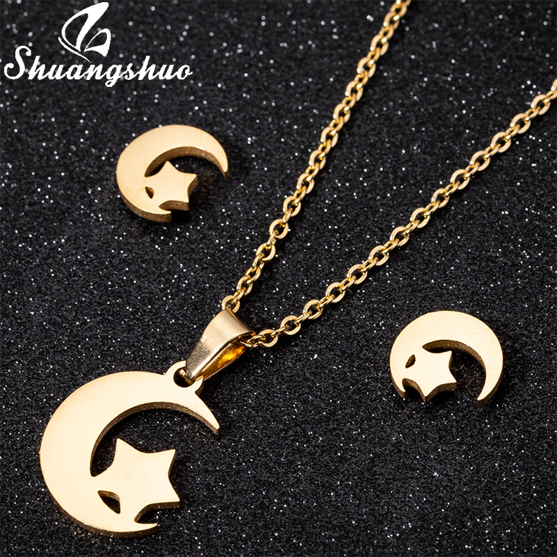 Shuangshuo Kleinen Stern Und Mond Ohr Studs Halsketten Stern Ohrringe für Frauen Minimalistischen Edelstahl Schmuck Geburtstag Geschenke