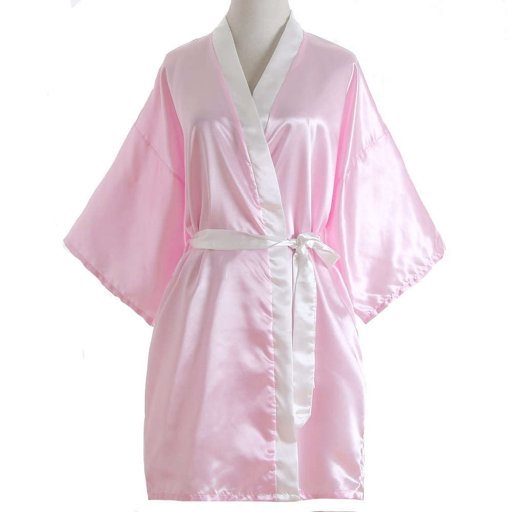 New Arrival Women Rayon Robe Gown Patchwork Pink Bride Bridesmaid Party Bath Shower Nightgown Wedding Gift Cosmetic Sleepwear