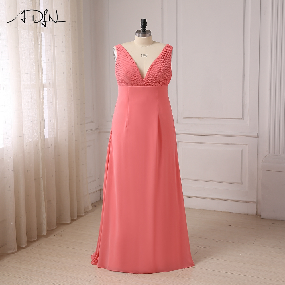 ADLN Plus Size   Bridesmaid     Dresses   Fashion Women Pleats Cap Sleeve Chiffon A-line Long   Bridesmaid     Dresses   2017 Back Zipper