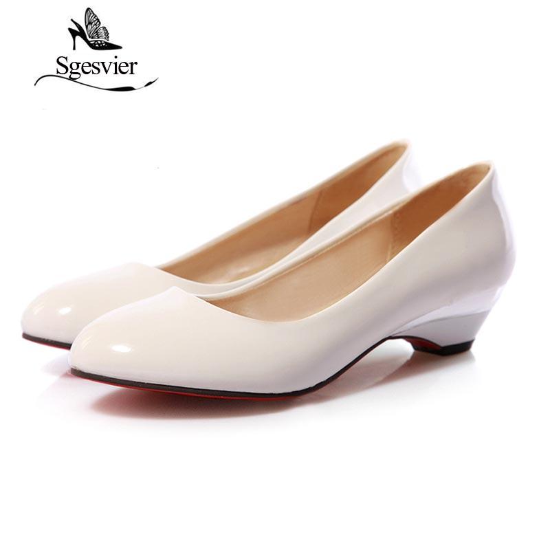 2017 Beige Tête 48 Nouveau Automne Femmes Robe Lady Taille black Chaussures Élégant Ronde Sgesvier Faible white Pompes Ox093 32 Talons Classics Petite Plus qFRAEPw