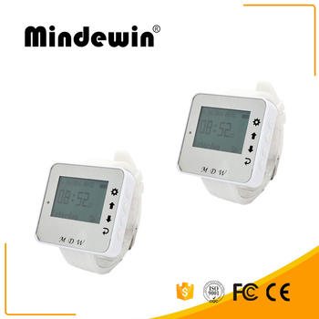 Mindewin Fashion Type 433MHz Wireless Calling System 2pcs Watch Wrist Receiver Call Pager for Restaurant Bank Equipment