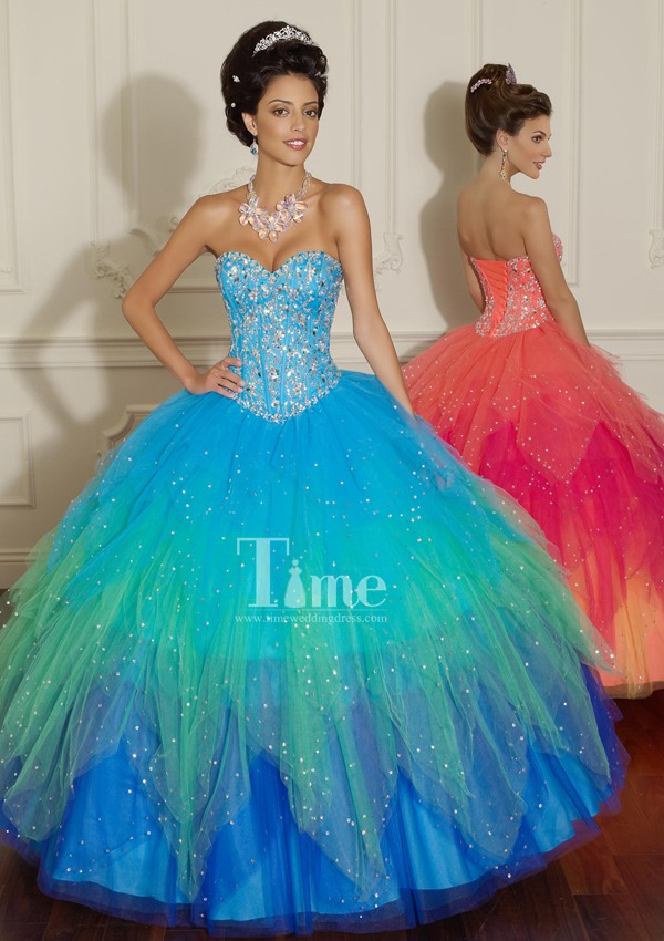 Online Shop Blue/pink/orange Quinceanera Dresses 2014 Sexy Ball ...