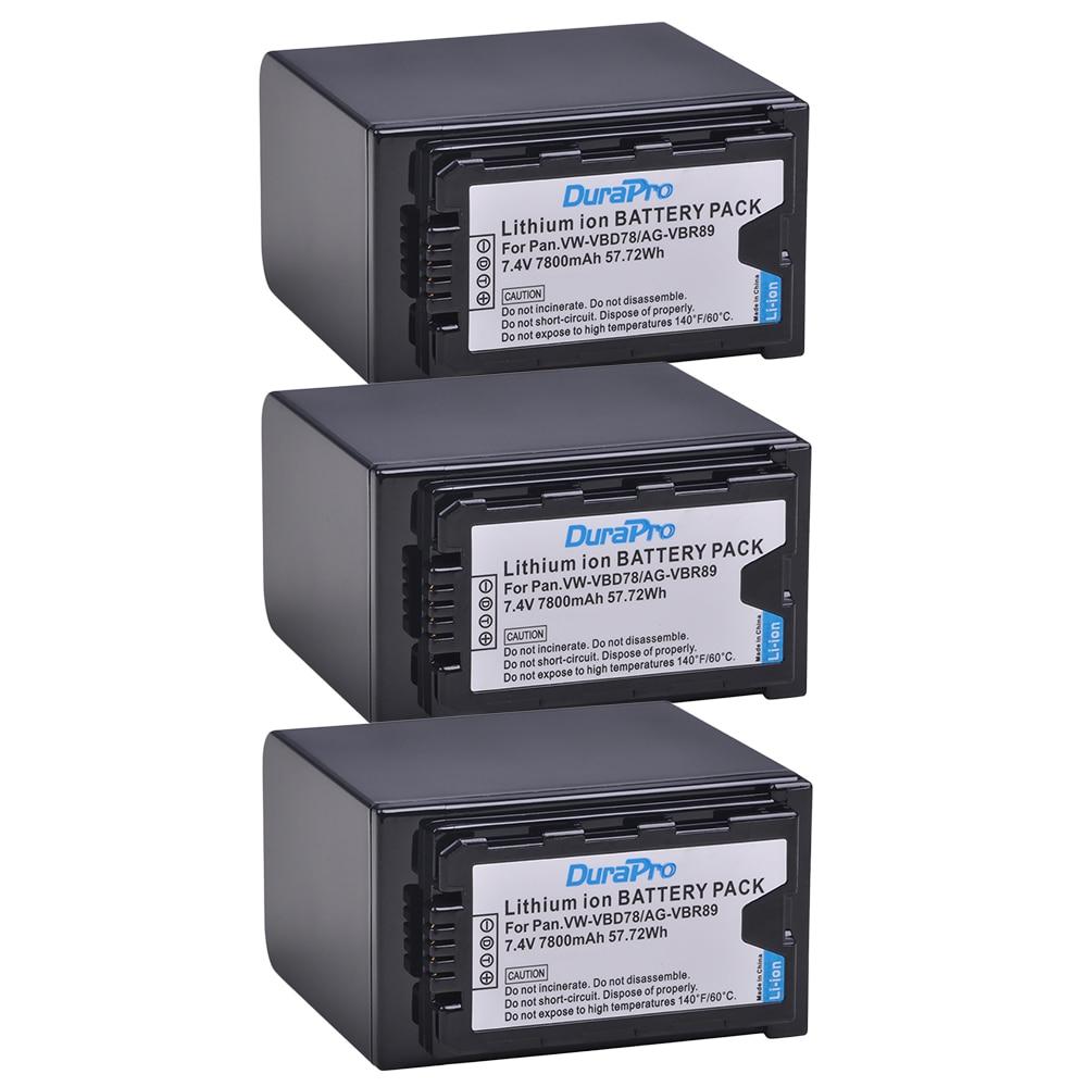 3 Pc 7800 mAH VW-VBD78 VBD78 AG-VBR89 Batterie pour Panasonic AJ-HPX260MC, HPX265MC, PX270, PX285MC, PX298, AG-FC100, HC-X1000 VBD58 VBD29