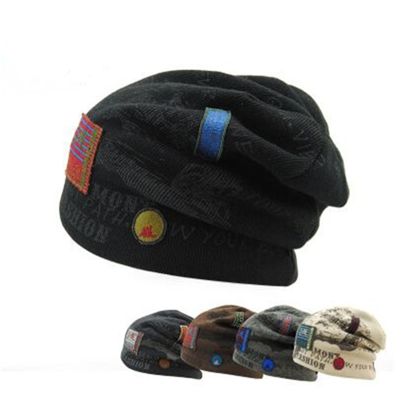Hombres  Skullies Winter Wool Hat Knitting Hat Cap Masculino Marca Gorros Solid Color Sets Touched hats for men wool skullies cap hat 10pcs lot 2289