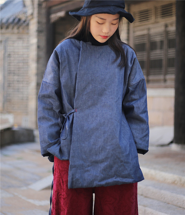 Parkas Johnature Solid Color New Vintage Parkas O-neck Full Sleeve Chinese Style Pullover 2019 Winter Warm 3 Colors Women Parkas