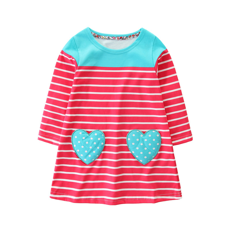 Top brand Baby clothing girl dresses stripe heart pockets kids dresses cotton children dresses long sleeve autumn 2018 dress kid long sleeve tartan dress with pockets