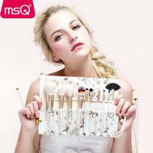 MSQ 10pcs/set  Makeup Brushes Set Powder Foundation Eyeshadow Eyebrow Lip Brush Tool with Flax Case or Delicate Resin Cylinder