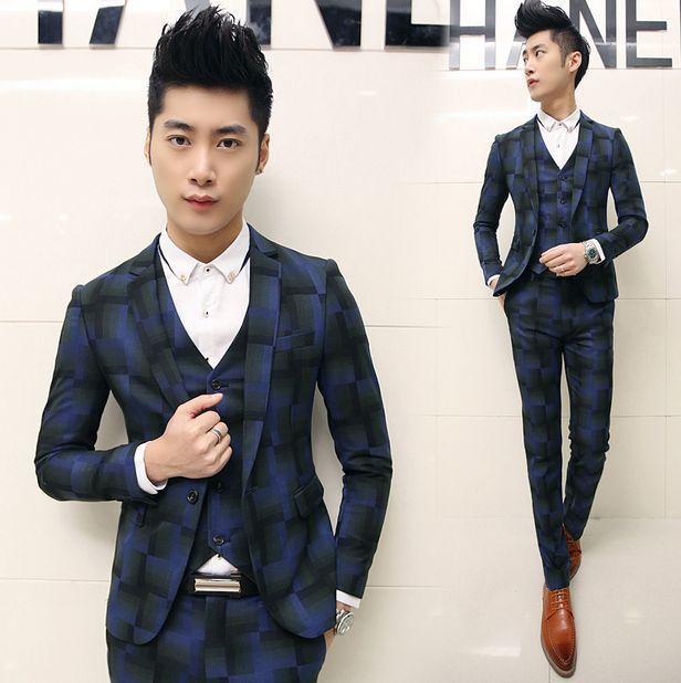 3 Piece/Set Teenagers Boy Mens Floral Prom Suits (Blazer+Vest+Pants ...