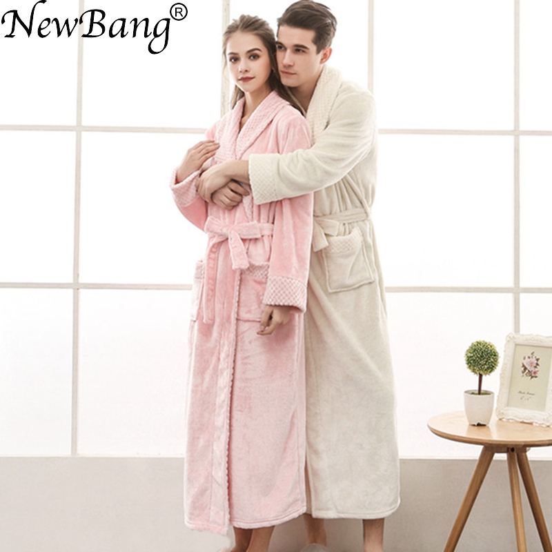 NewBang Brand Lovers Bathrobe Winter Extra Long Knitted Waffle Flannel Coral Fleece Bath Robe Thicken Warm Nightgown Home Wear