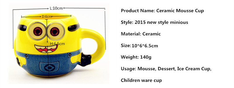 Hot Sale Cartoon Lovely Despicable Me Minions Ceramic Cup