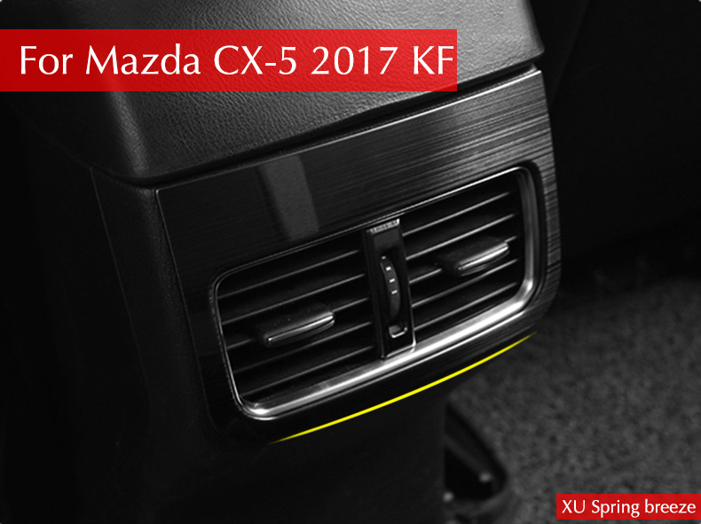 For Mazda CX-5 CX5 2017 2018 KF Car Rear Console Air Conditioner Outlet Frame Cover Trim Car Stickers Car Styling for mazda cx 5 cx5 2017 2018 2nd gen lhd auto at gear panel stainless steel decoration car covers car stickers car styling