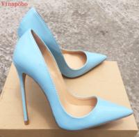Ladies Designer Shoes Women So Nice Kate 12cm/10cm/8cm Patent Leather Blue Stiletto High Heels Fashion Wedding Shoes Women Pumps