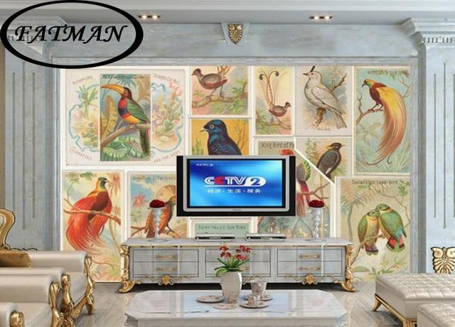 Custom foto behang d grote vogel collage behang muurschildering