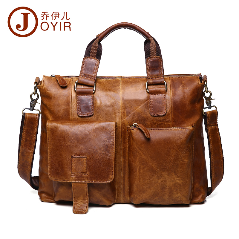 JOYIR Genuine Leather Men Bag Men Briefcases Men Messenger Bag Male Leather Business Computer Laptop Bags