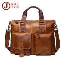 JOYIR Genuine Leather Men Bag Briefcases Messenger Male Business Computer Laptop Bags Crossbody Handbag