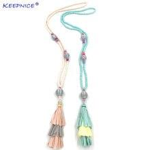 Новинка ожерелье с кисточками богемное длинное бахромой эффектное