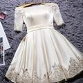 2017 New Fashion Short Design Party Plus Size Short Sleeve Champange Color Lace-up Back Prom Dresses Custom