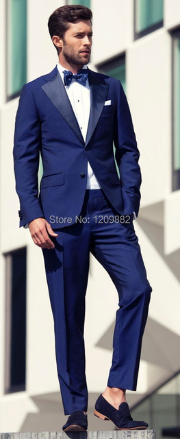 2015 New tailored Navy blue wide lapel groom tuxedos wedding suits ...