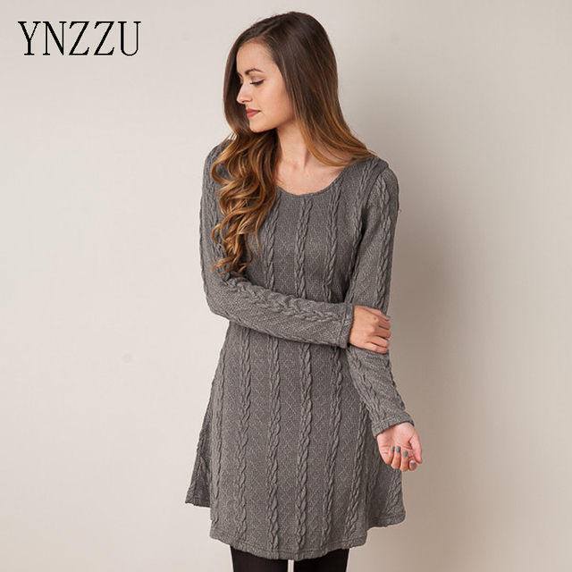 3927a56a70c8 YNZZU 2016 Fall Winter O Neck Knit Dress Long Sleeve Slim Women Twisted  Sweater Dresses Elegant Femme Vestidos YD080