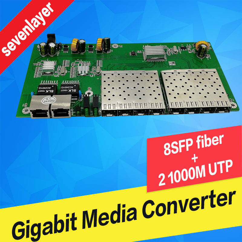Fiber optical switch 8 SFP solt 2 RJ45 Gigabit Ethernet PCBA board  Media Converter 10/100/1000M utp 8 Port 1.25G SFPFiber optical switch 8 SFP solt 2 RJ45 Gigabit Ethernet PCBA board  Media Converter 10/100/1000M utp 8 Port 1.25G SFP
