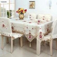 Vezon популярный вышитый стол ткань элегантный полиэстер атласная Цветочная скатерть с вышивкой Роза скатерти покрытие накладки дома