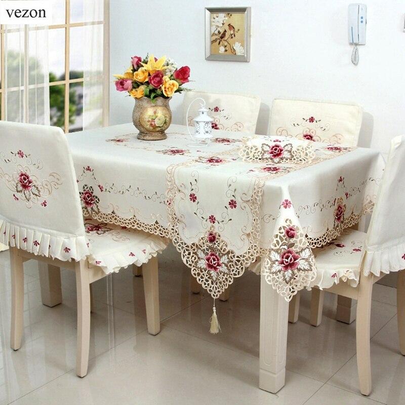 Vezon Hot Embroidered Table Cloths Elegant Polyester Satin