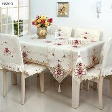 Vezon Heißer Bestickte Tischdecken Elegante Polyester Satin Floral Stickerei Tischdecke Rose Tischdecke Abdeckung Overlays Startseite