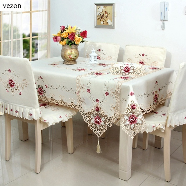 Great Vezon Hot Embroidered Table Cloths Elegant Polyester Satin Floral  Embroidery Tablecloth Rose Table Cloth Cover Overlays