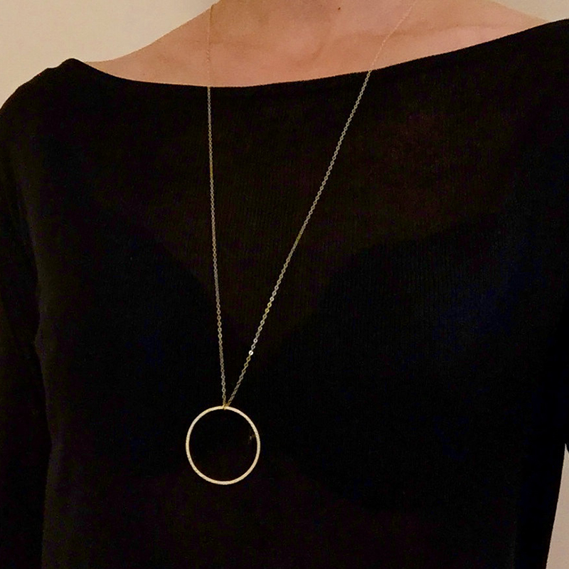 Statement Necklace Circle Pendant Necklace Long Necklace Jewelry XL377