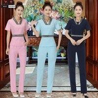 High Quality Women Workwear Suit Short Sleeve Hospital Nurse Uniform V neck Beautician Medical Work Clothes Tops+ Pants