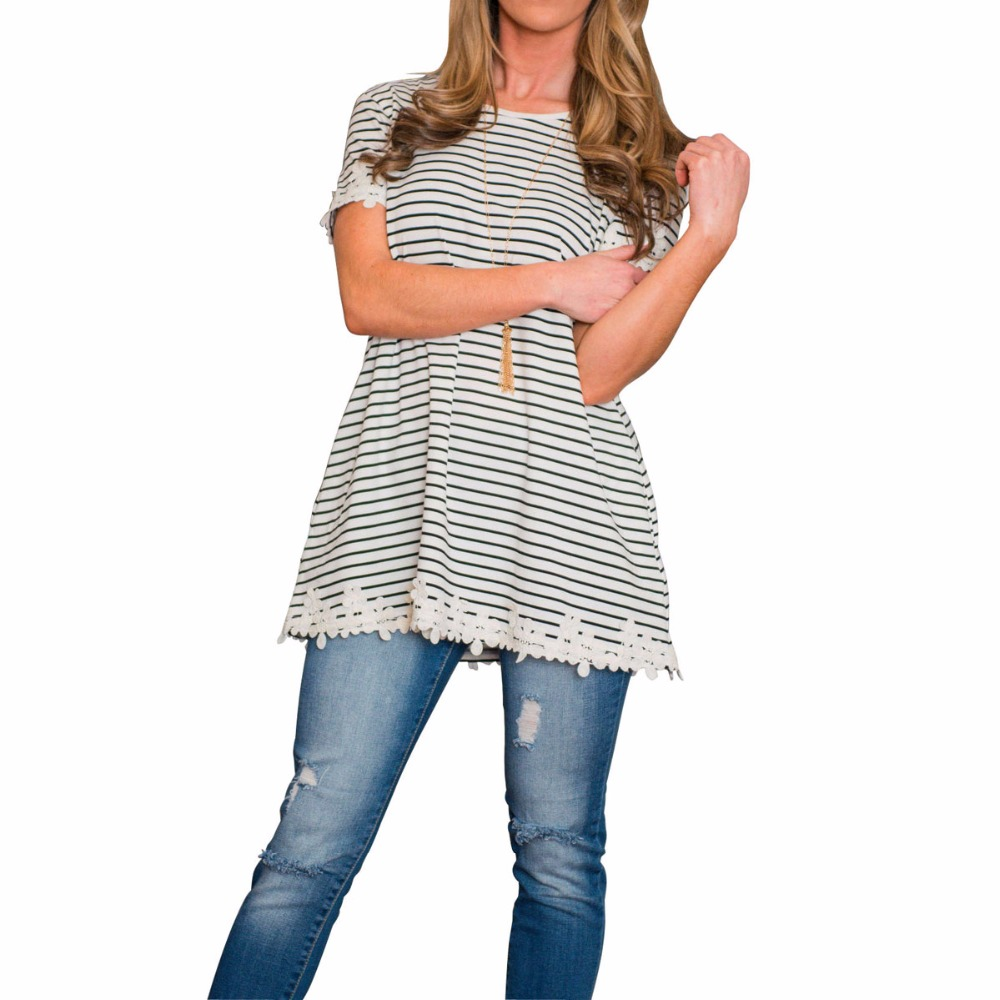 952d7bdd57e9b Jessie Vinson Fashion Design Trendy O Neck Short Sleeve Striped Shirt Women  Tops Contracted Joker Straight Loose T shirt -in T-Shirts from Women s  Clothing ...