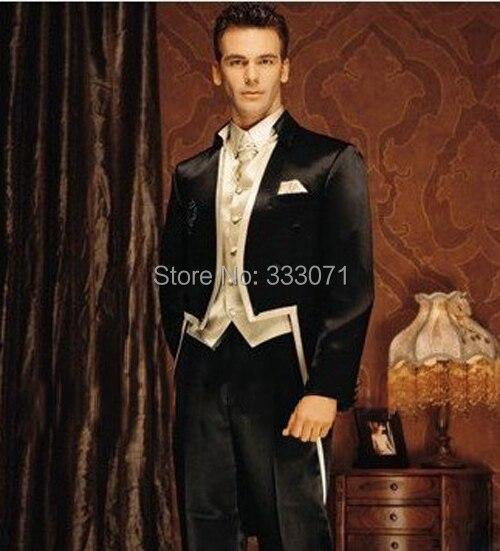 Индивидуальный заказ Высокое качество Стенд воротник Костюмы Формальные смокинг жениха для 3 предмета в комплекте черный с бежевым пальто +