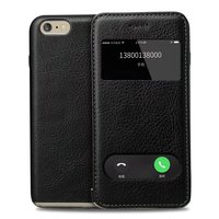 SS Window Smart Cover Case For IPhone 6 6Plus Case Top Quality Genuine Leather Phone Bag