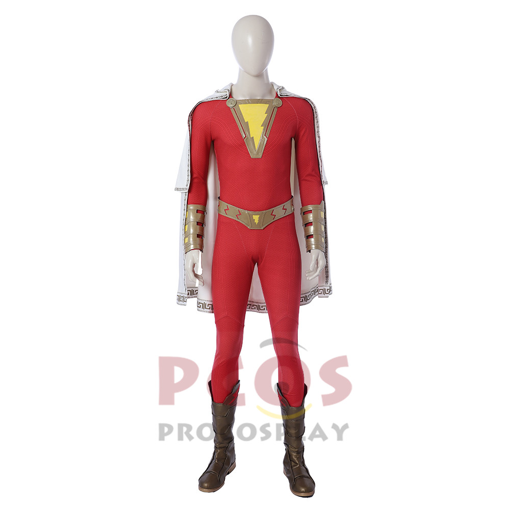 Justice Billy Batson Captain Marvel Cosplay costume Shazam ! Billy Cosplay Costume & Boots mp004130