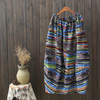 Runback 2017 Summer New Folk Style Printing Cotton Long Linen Skirt Female Elastic Waist Mid Calf