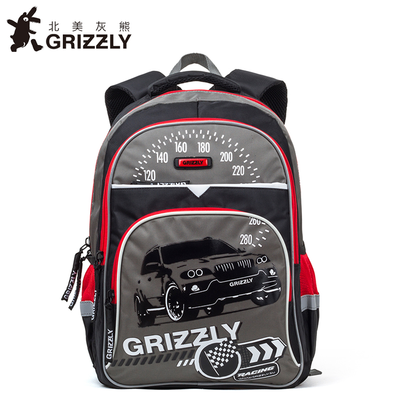 GRIZZLY Cartoon Printing Children Kids Schoolbags for Boys Backpacks Orthopedic Zipper Primary School Bags for Grade 1-6